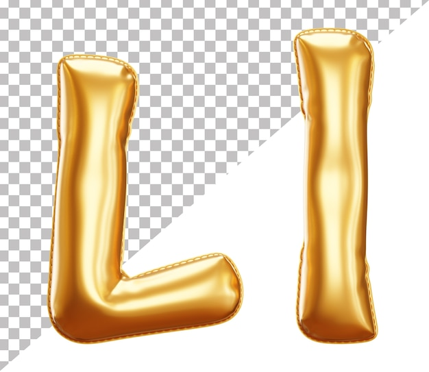 3d realistic letter l gold helium foil balloon alphabet, upper case and lower case