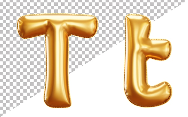 3d realistic letter t gold helium foil balloon alphabet, upper case and lower case