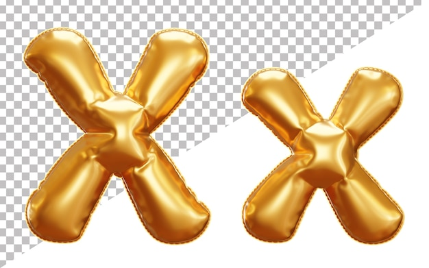 3d realistic letter x gold helium foil balloon alphabet, upper case and lower case