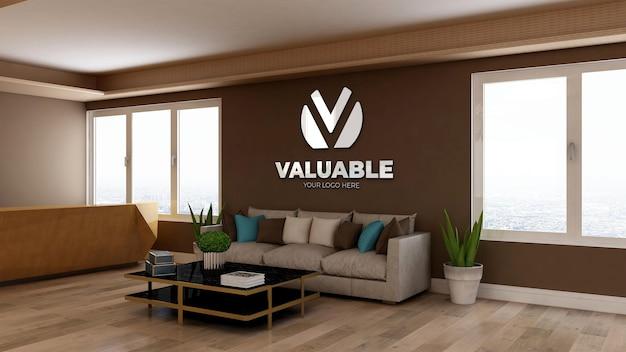 3d реалистичный макет логотипа в зале ожидания вестибюля современного офиса с деревянным дизайнерским интерьером