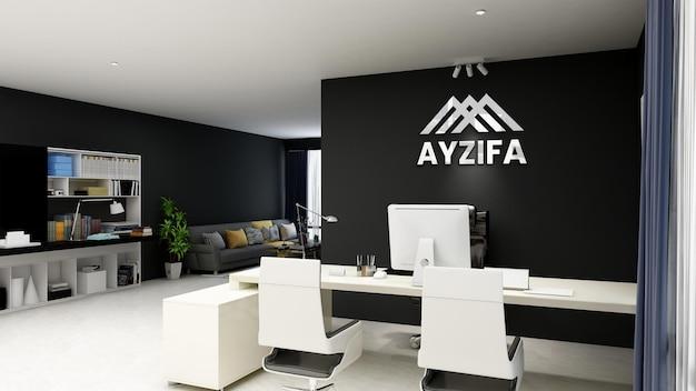 黒い壁とオフィスで3dリアルなロゴのモックアップ