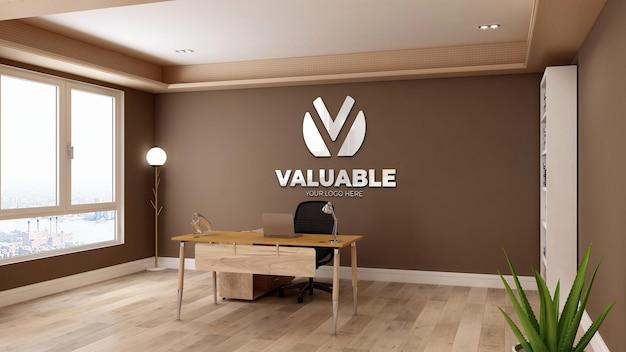 3d реалистичный макет логотипа в бизнес-офисе