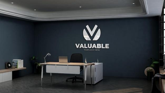 3d реалистичный макет логотипа в комнате офис-менеджера