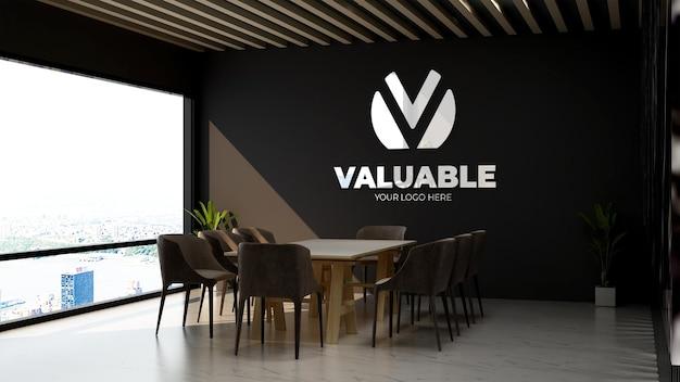 3d реалистичный макет логотипа в офисном конференц-зале с роскошным дизайнерским интерьером