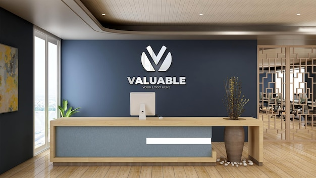 3d реалистичный макет логотипа в приемной офиса с деревянным дизайном интерьера