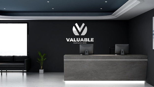 3d реалистичный макет логотипа в приемной офиса