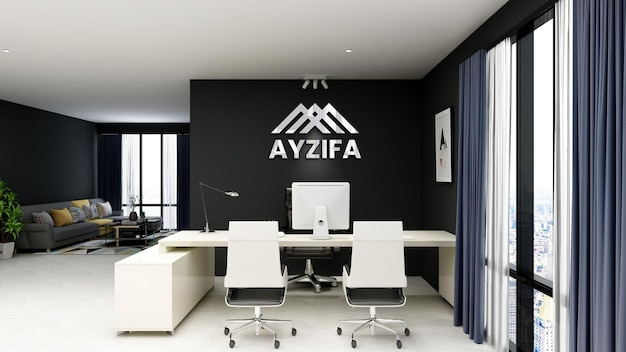 3d realistic logo mockup in office with black wall