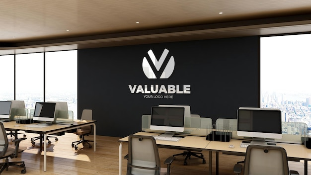 3d realistic logo mockup in office workspace with wooden interior design