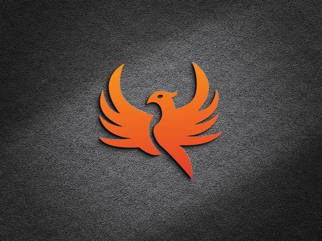 3d реалистичный макет логотипа на темном фоне