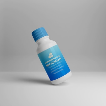 3dリアルな薬瓶のモックアップ