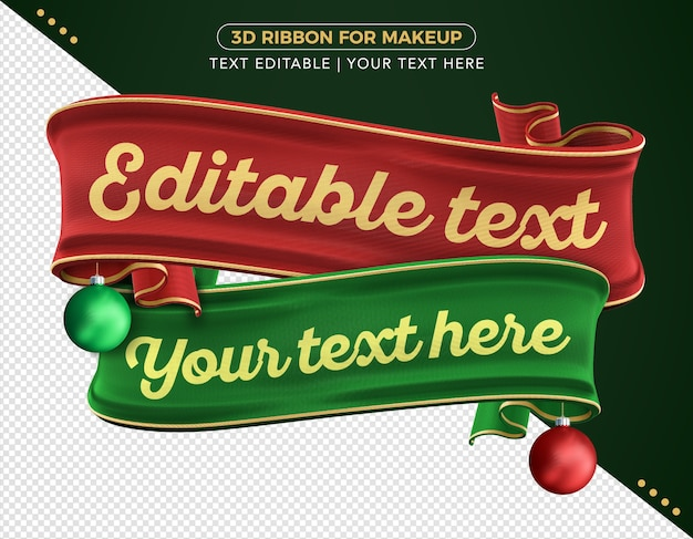 3d realistic merry christmas ribbons for composition