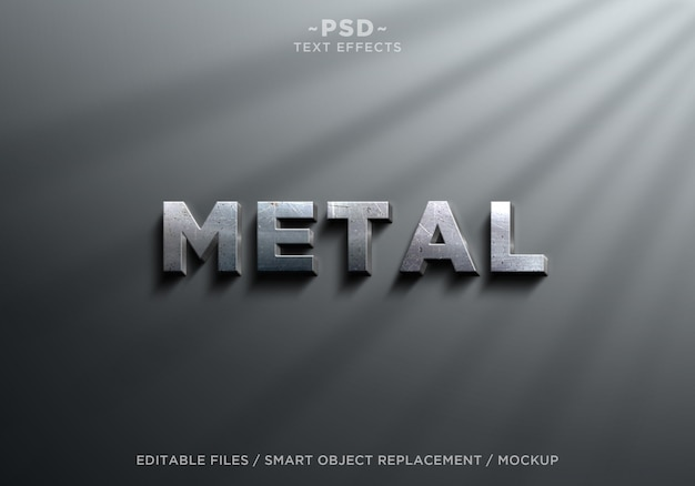3d realistic metal effects editable text