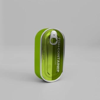 3d реалистичный металлический контейнер для рыбы, мокап psd
