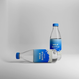 3dリアルな牛乳瓶のモックアップ