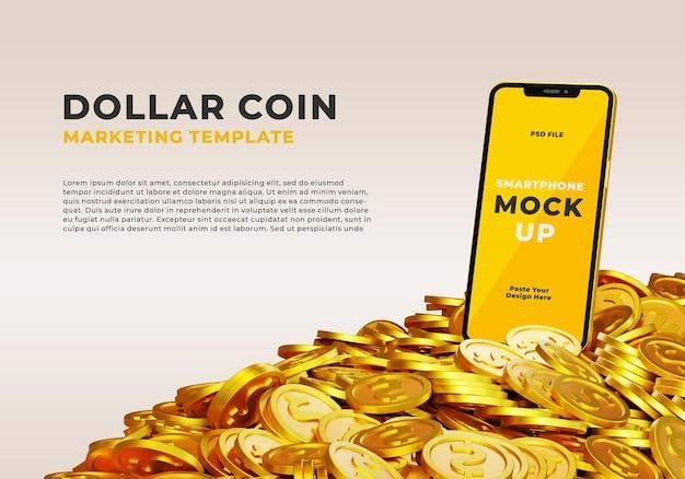 3d реалистичный макет смартфона с кучей долларовой монеты