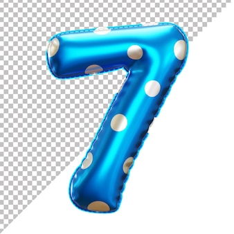 3d realistic number 7 polka dots helium foil balloon