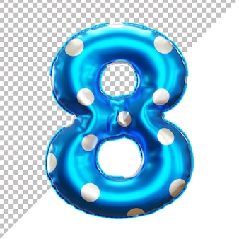 3d realistic number 8 polka dots helium foil balloon