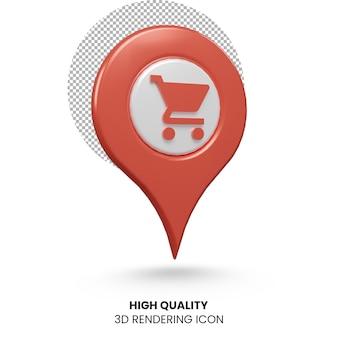 Значок рендеринга местоположения покупок 3d реалистичный указатель
