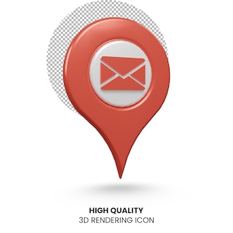 Значок указателя местоположения электронной почты 3d реалистичный рендеринг