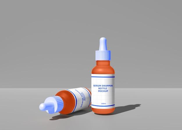 Реалистичный 3d-макет бутылки-капельницы для сыворотки