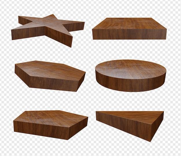 3d реалистичный набор форм с деревянной текстурой для изолированной подставки