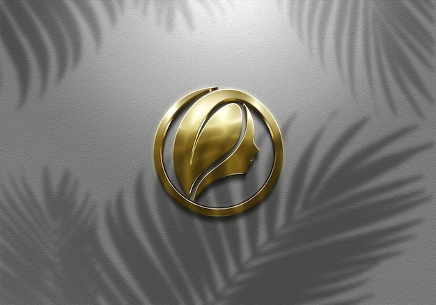 3d realistic sign wall golden logo mockup