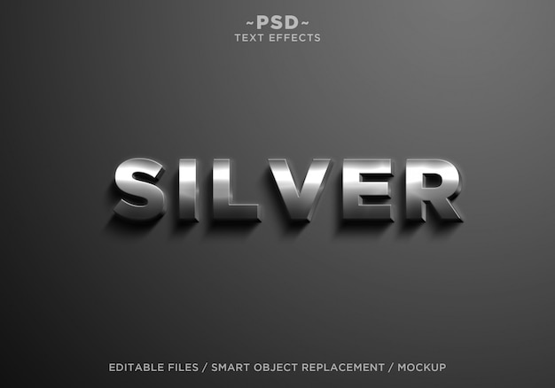 3d realistic silver effects editable text