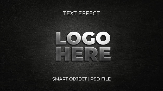 3d realistic silver logo mockup black texture background psd template