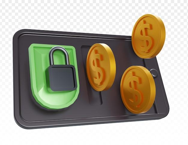 3d реалистичный смартфон с замком и золотой монетой доллара изолированы