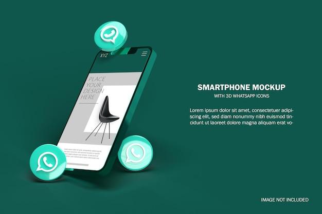 3d реалистичный смартфон с макетом иконок социальных сетей