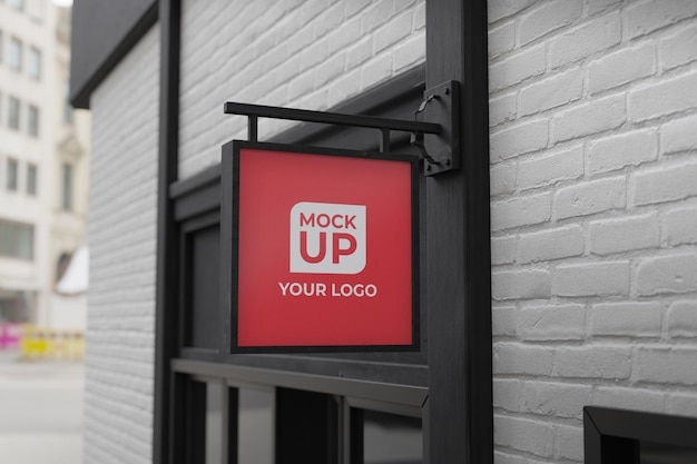 3d realistic square outdoor sign logo mockup