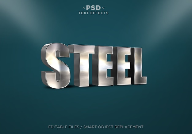 3d realistic steel effects editable text