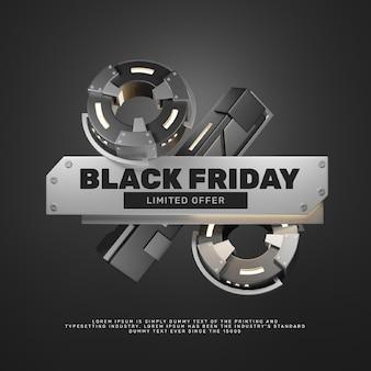 3d реалистичный стальной вид, промо-акция в черную пятницу, скидка, заголовок
