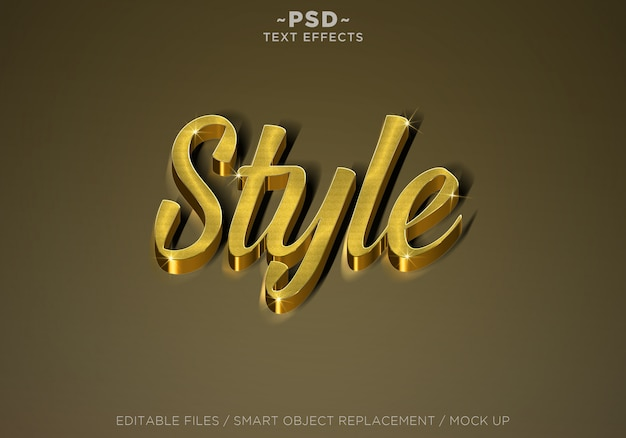 3d realistic style gold effects editable text