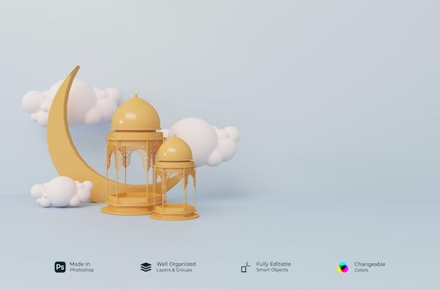 イスラムのラマダンカリームとイードムバラクの3dリアルなシンボル