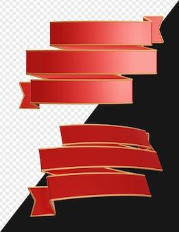 3d реалистичный баннер с тройными лентами