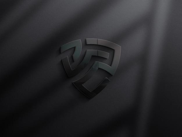 3d реалистичный макет логотипа на темной стене