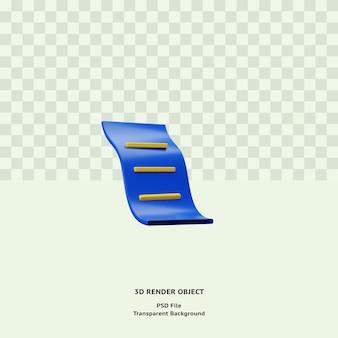 Объект значка иллюстрации квитанции 3d визуализирован премиум psd