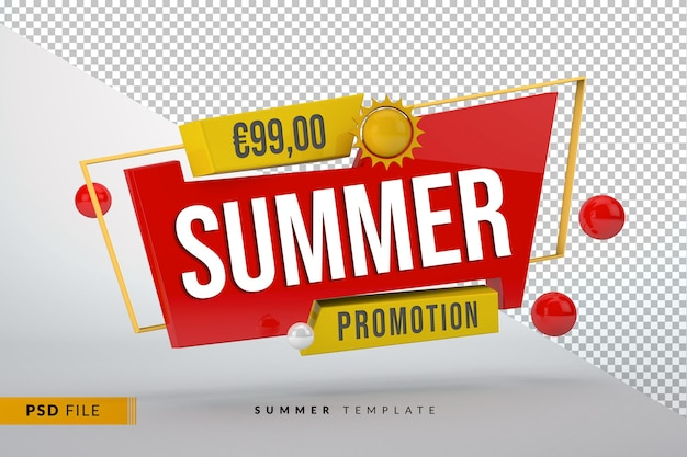 3d red banner with yellow elements for summer promotions or discounts isolated