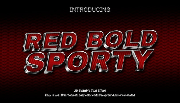 3d red bold sporty編集可能なテキスト効果