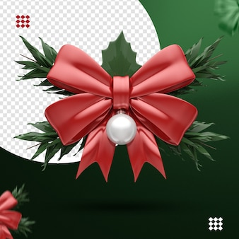3d red bow with white christmas ball and branches for composition