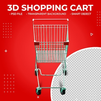 3d red color metal shopping cart isolated