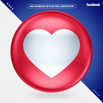 3d red ellipse like facebook Premium Psd