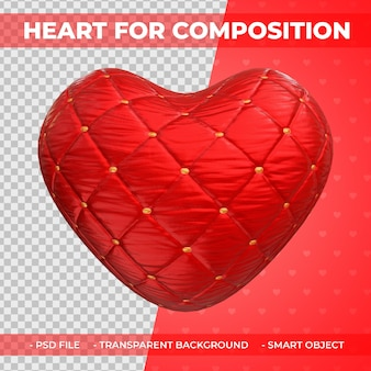 構成3dレンダリングのための3d赤い布の愛またはハートの形