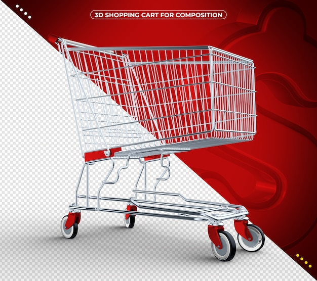 3d red isolated shopping cart isolated