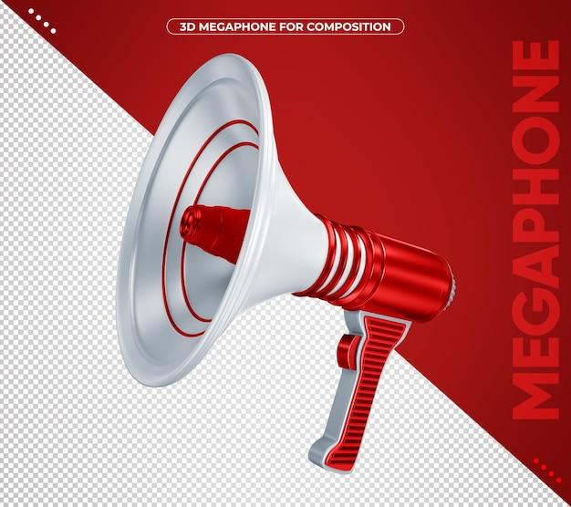 3d красный мегафон для изолированной композиции