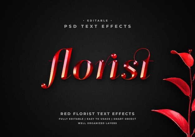 3d red metal florist text style effect