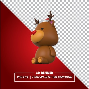3d red nose deer rendered on transparent background