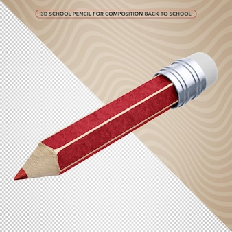 3d red pencil for back to school