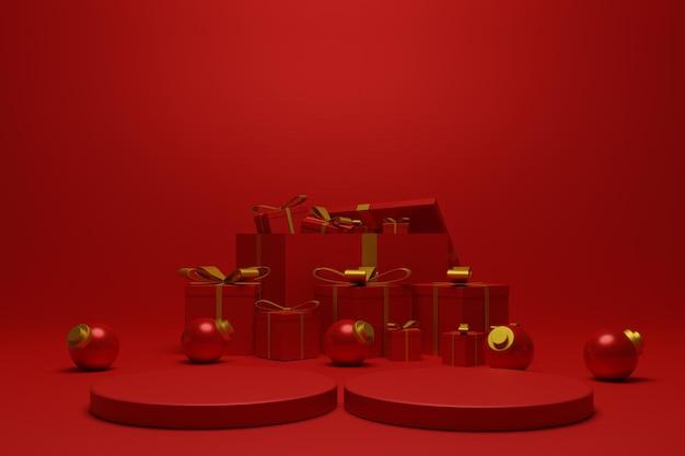 3d красный подиум рождество для презентации продукта